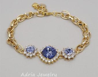 Purple Bridesmaid Bracelet Swarovski Crystal Bracelets Gold Bridesmaids Jewelry, Tanzanite Amethyst Bracelet Violet Lavender Rhinestone