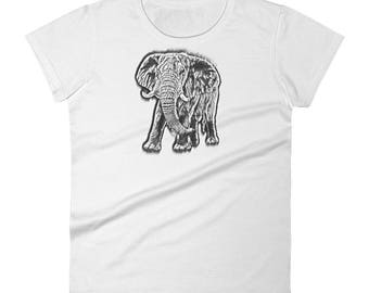 Women's Hand Sketched Elephant tShirt