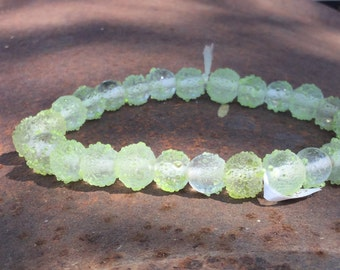 Pale Green Textured Glass Beads - 54 Pieces - #197