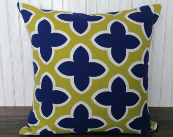 Navy and Lime Floral Pillow Cover, Green and Blue Modern Cushion Cover, Dark Blue, Chartreuse Accent Pillow Cover,