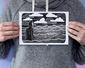 Surfer on the East Coast - Nova Scotia - handmade relief print - surfing wall art - surf home decor