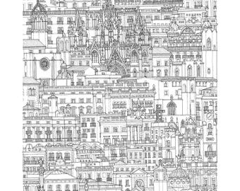The Gothic Quarter, Barcelona Spain. Print | Poster of its architectonic landscape (ink drawing)