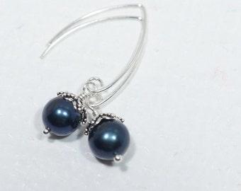 Natural Black Pearl Earrings Freshwater pearl drop earrings, bridal jewelry, sterling silver, Real pearl earrings