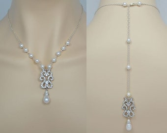 Bridal Crystal Necklace, Swarovski Pearls, Wedding Jewelry, Silver Tone, Gold Tone, Backdrop, Elena - Will Ship in 1-3 Business Days