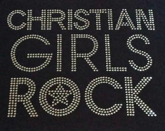 Rhinestone Christian Girls Rock Bling Shine Transfer Only