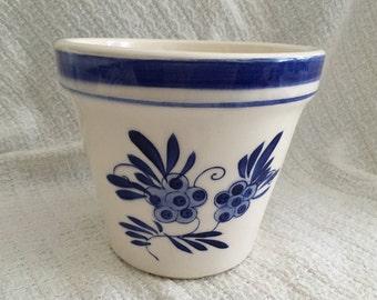 Cobalt Blue Floral Planter, Porcelain Ceramic Floral Pot, Footed Flower Pot, Blue Floral Plant Pot, Stylistic Floral Pot, Garden Pot