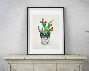 original artwork watercolor cactus illustration 9 x 12 inches