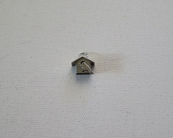 Vintage Sterling Silver Swallow Birdhouse Charm Pendant, 7mm