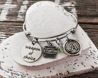 WEAPON OF CHOICE, Vintage, Typewriter Bracelet, typewriter charm, author Bracelet, gift for writer, Silver Plated Charm Bracelet,Gift