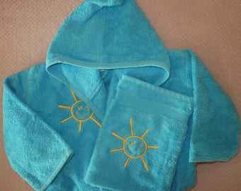 All gloves embroidered with name and image and baby/toddler bathrobe