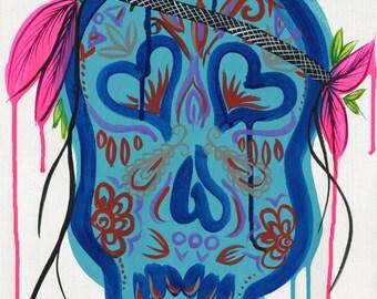 Blue Funky Sugar Skull Art Print