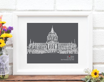 City Hall Wedding Gift, Personalized Elopement Gift, First Anniversary, Elope at Courthouse Gift, City Hall, Gift for Bride, Use YOUR Photo