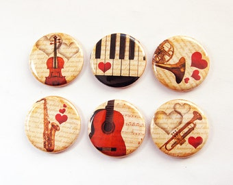 Music Magnets, Musical Instruments, Button magnets, Kitchen Magnet, Fridge Magnet, Piano, Guitar, Violin, Trumpet,Stocking Stuffer (3283)