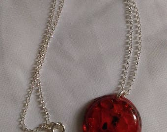 925 Silver chain with epoxy and enamel pendant