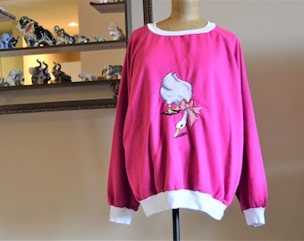 "80's Boxy Sweatshirt,Vintage Hand Embroidery Duck Blouse,Chest 54"" to 58"",Plus Size 3X Shirt,Fairy Kei, Pullover,Oversized,Tunic ,Maternity"