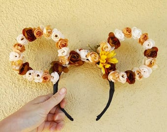 Mickey Inspired Floral Ears - Fall Flower Crown - EarthTonix Magic Collection