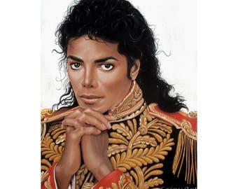 Michael Jackson Print - Realistic Pastel Drawing - Multiple Sizes - Military Jacket - Fine Art - Celebrity Portrait, King Of Pop, BAD Era