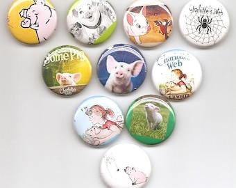 Charlotte's Web Set of 10 Pins Button Badge Pinback