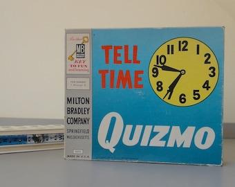 SALE - Vintage Milton Bradley Tell Time Quizmo - Classroom Clocks