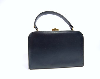 50s 60s Navy Leather Handbag - Structured Frame Bag - Early 1960s Original by Caprice // Matte Navy Blue Box Bag Late 50s