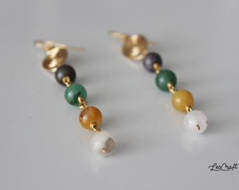 AUTUMN brass earrings with gemstone
