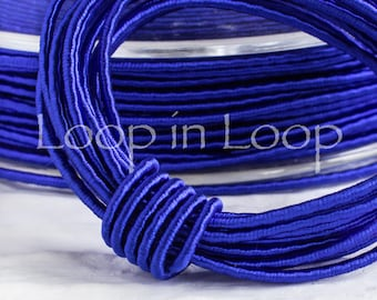 Royal electric Blue SILK cord 1.5 mm thick organic natural hand spun Wrapped Silk Satin Cord polyester core for Jewelry (3 feet)