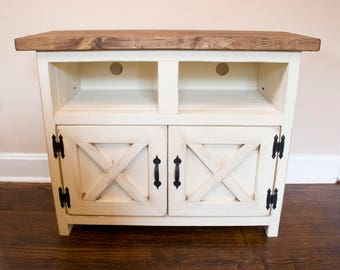 Farmhouse TV Stand - Entertainment Cabinet - Cabinet w/ Doors