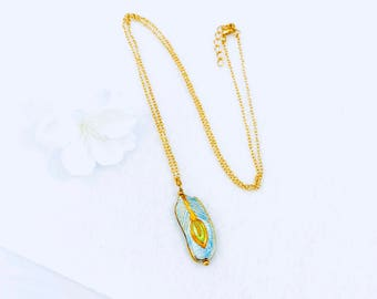 Long Gold Tone Chain CLOISONNÉ FEATHER NECKLACE great for layering boho necklace feather pendant feather charm