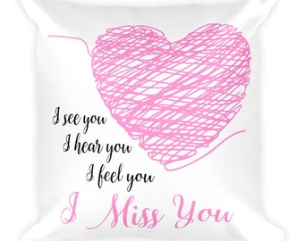 I Miss You Square Pillow- Christmas Gift- Throw Pillow, Bed Pillow, Kids Room Decor
