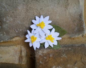 Edelweiss felt flower hair clip