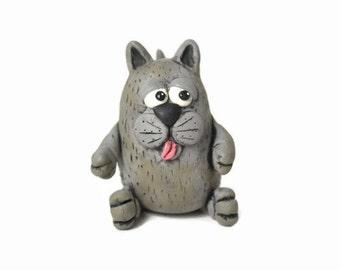 Fat Cat, Cat Collectible, Clay Cat, Cat Art, Cat Sculpture, Cat Decor, Cat Gift, Stocking Stuffer
