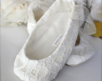 Ivory or White Sequin Lace Ballet Slippers - Flower Girl Shoes - Baby and Toddler Girl  - Christening - Baptism