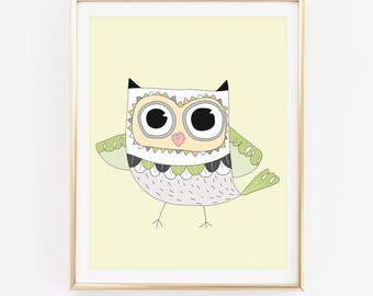 Watercolor Owl Print, Animal Print, Cadre, Nursery Wall Art, Kids Room Print, Baby Shower Gift, Newborn Gift, Baby Room Print, D81-41