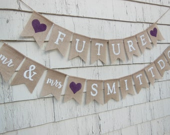 Plum Bridal Shower, Couples Shower Decor, Engagement Party Decor, Future Mr and Mrs, Purple Bridal Shower Banner, Rehearsal Dinner Ideas