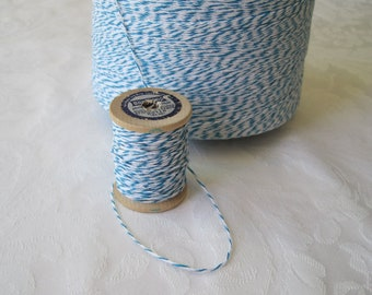 50 Yards Blue Twine, Cotton Twine, Bakers Twine, Blue String, Box Twine, Light Blue, Gift Wrapping, Gift Wrap, On 2 Inch Wood Spool