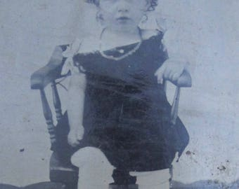 Her Whole Life Was In Front Of Her - Original 1870's Sad Pretty Little Girl Tintype Photograph
