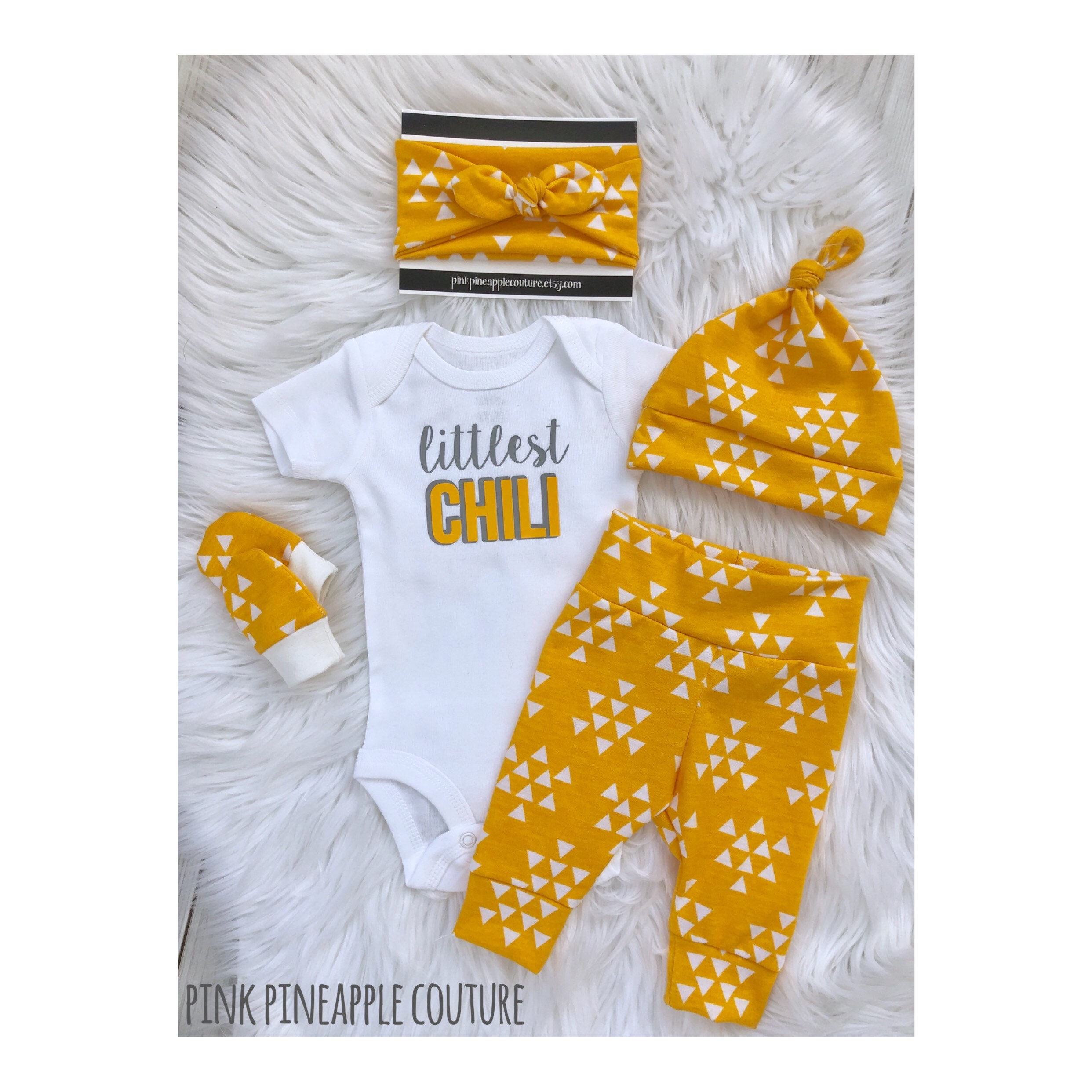 Gender neutral newborn ing home outfit yellow baby