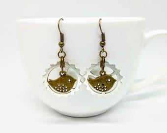 Steampunk Earrings Bird Cog Gear Jewellery Silver Bronze Accessories