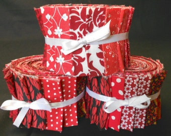 Red Jelly Roll Quilt Fabric Strips  - Time Saver Quilt Kit by SEW FUN QUILTS -