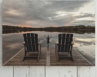 Relaxing at the Lake Canvas Print, Chairs on Dock with Wine Lake Wall Art, Adirondack Chairs Wine Lake View Art Print, Neutral Lake Picture