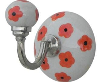 10200 ceramic hook, wall hook coat hanger flower Orange