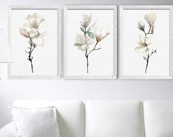 Magnolia Wall Art Print Set 3 White Magnolia Painting Abstract Flower Watercolor Painting Minimalist  Art Magnolia Decor Living Room