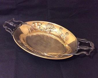 Antique Victorian art nouveau c1890 pressed brass and metal dish, arts and crafts art nouveau floral design, art nouveau collectable
