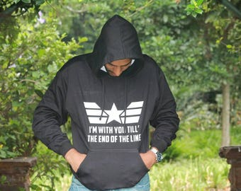 I'll be with you till the end of the line. Captain America htv  hoodie.