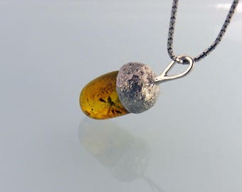 Amber Acorn Family Heirloom Pendant Sterling Silver Jewelry