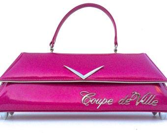Couture Vintage Car inspired Handbag Made In USA- VIP Lounge- Coupe de Ville Vintage Pink Metal Flake Car Bag