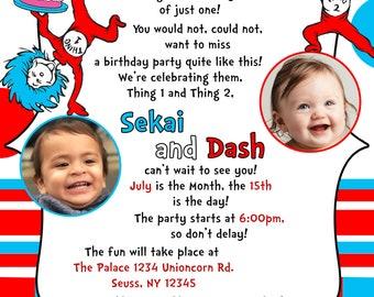 Thing 1 and Thing 2  Birthday Invite