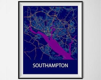 Southampton Map Poster Print - Night
