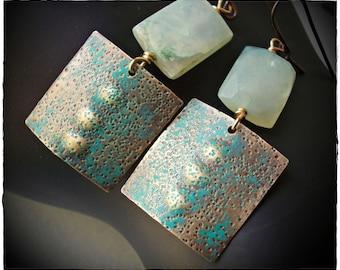 Natural Blue Peruvian Opal Earrings, blue opal earrings, brass dangle bohemian gemstone hammered textured tribal ethnic handmade stone aqua