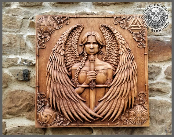 Oleg Wood Art - a carving of Valkria of Norse myth - from the artisan series on House Morningwood.